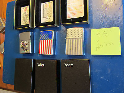(3) ZIPPO lighters from collection Patriotic American Flag Eagle w/ box - lot Z5