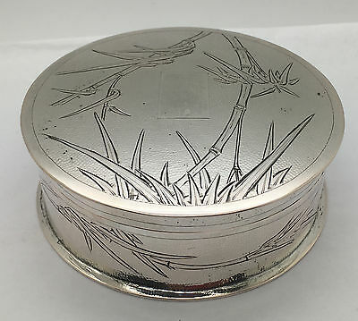 Chinese Export Silver Box With Lid Bamboo Motif Design Signed!!!