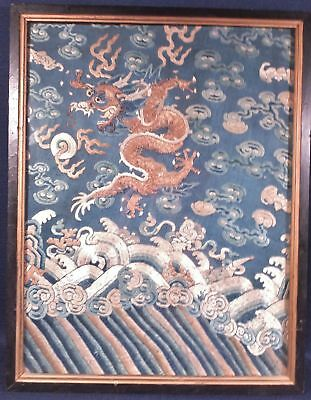 Antique Chinese Qing Dynasty Embroidery Rank Badge Gold Thread Dragon