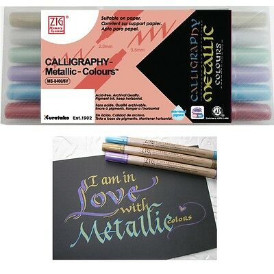 6 Zig Dual Tipped Calligraphy Marker Pens - Metallic Colours - 2.0mm & 3.5mm