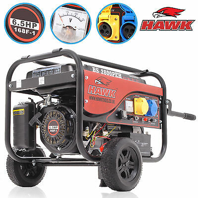 3.6kVA 2.8kW 2800w 6.5HP 110v 230v PETROL PORTABLE ELECTRIC SITE POWER GENERATOR