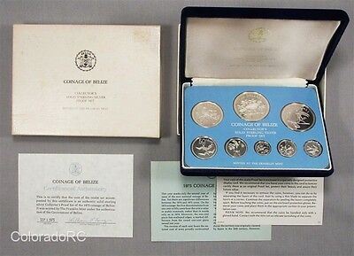 1975 Coinage of Belize Solid .925 Silver 8-Coin Set in Original Box with COA