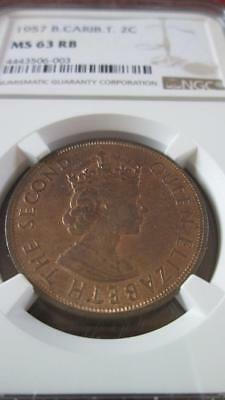 British Caribbean Territories 2 Cents 1957 NGC MS 63 RB