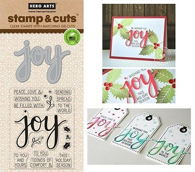 Hero Arts Stamp & Cut - Clear Stamps with Matching Dies - Joy, Christmas Tidings