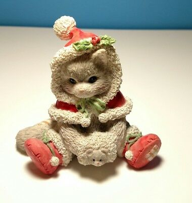 """Vintage Enesco Calico Kittens """"Wrapped In The Warmth of Friendship"""" 1993 Xmas"""