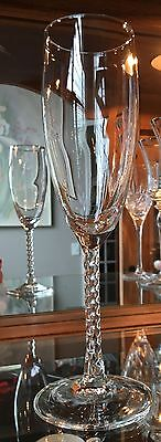 Three (3) Twisted rope style stem champagne glasses