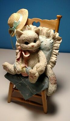 """Vintage Enesco Calico Kittens """"Waiting For A Friend Like You"""" 1992 P. Hillman"""