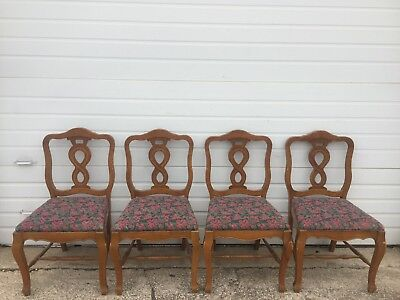 4 Vintage French Provincial Wood Upholstery Dining Chairs. No Table. Pickup Only
