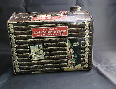 Vintage Log Cabin Syrup Tin, Home Sweet Home, Large size, Empty, No Cap