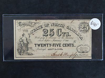 1863 .25c State of North Carolina Obsolete Currency Note