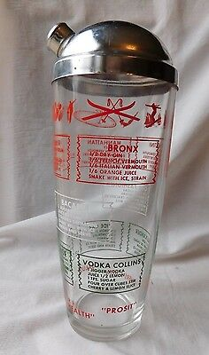 Vtg 1950's Mcm Cocktail Shaker W Sports Lodge Recipes Toasts Great Graphics Vgc