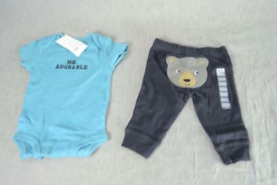 Carter's 2 Piece Set Mr Adorable One Piece Top and Bear Bottom Pant 3 months