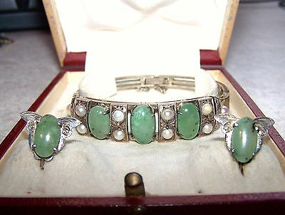 Antique Asian Sterling Silver Jade Pearl Bracelet Earring Set Original Box