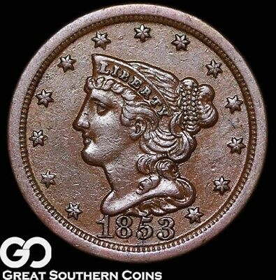 1853 Half Cent, Braided Hair, Choice Uncirculated Copper, ** Free Shipping!