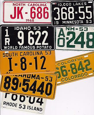 Lot of 26 Cereal Premium License Plates Metal and Glitter Stickers 1953, 1963 +