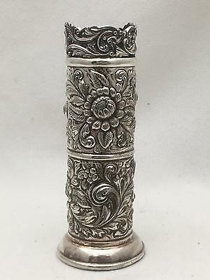 ART NOUVEAU Antique DERBY SILVER Vase QUADRUPLE SILVERPLATE Repousse Flowers