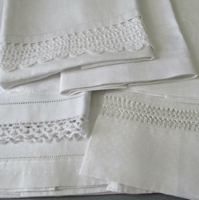 Asst Lot 6 Fine Vintage Irish LINEN Damask Hand TOWELS * Drawnwork + LACE Trims