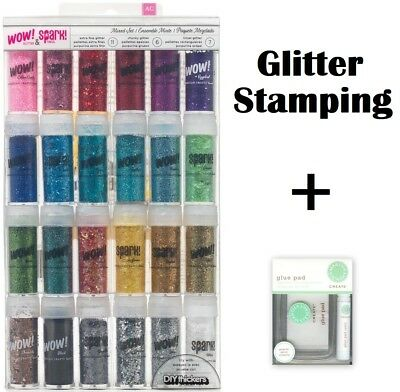 Wow! Glitter & Spark Tinsel Glitter Set with Martha Stewart Glue Pad - Stamping