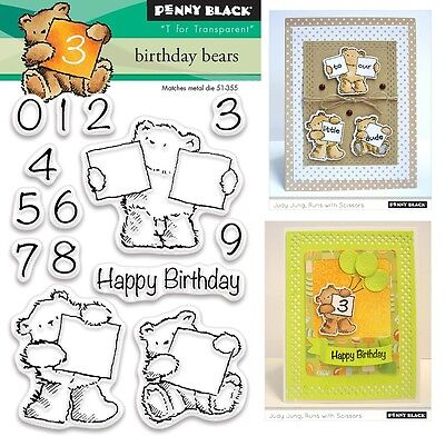 Penny Black Clear Stamps - Birthday Bear, Teddy Bear, Ages, Numbers, Happy