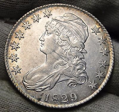 1829 Capped Bust Half Dollar - 50 Cents, Nice Coin, Free Shipping  (5575)