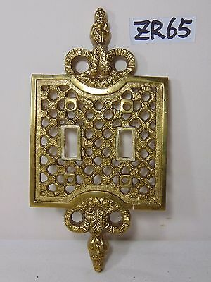 Vintage Dual Brass Switch Plate Cover Ornate Japan Made Heavy Rare Antique