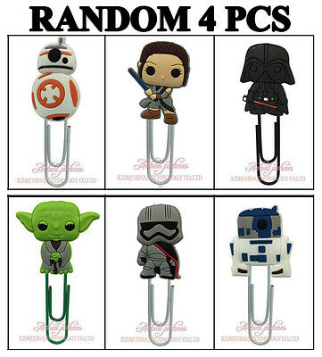 4pcs 60mm PVC Paper Clip Bookmark Kid Party Favor Star Wars BB8 Darth Vader Yoda