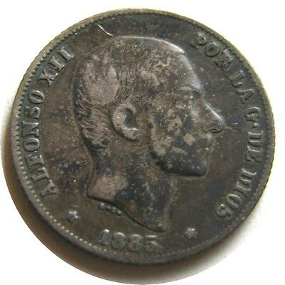 elf Philippines Spanish 20 Centimos 1885 Silver