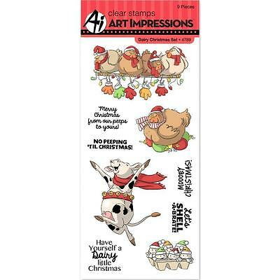 Art Impressions Clear Stamps - Dairy Christmas Set - Farm, Chickens, Cows, Xmas