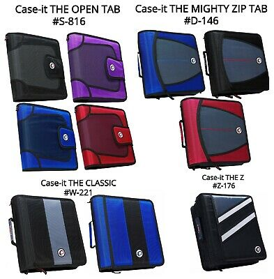 """CASE-IT 3-Ring 2"""" Binder Zippered Classic BLACK-RED-BLUE  (W-221) New"""