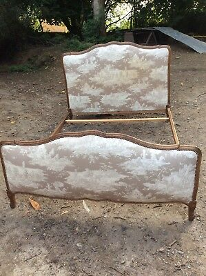 Antique / Vintage French Toile de Jouy Fabric Upholstered Double Bed (714)