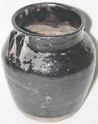 Chinese Southern Song (12th C) Dk Brown Glaze Wide Mouth Twin Handle  Jar