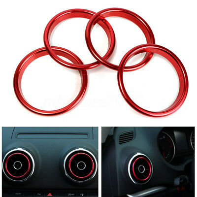4Pcs Stainless Steel Car Interior Air Vent Outlet Ring Cover Trim For Audi A3