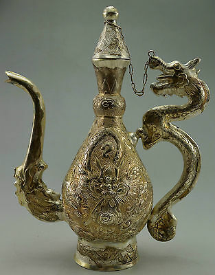 Antique Old Sterling 999 Solid Silver Hand Made Dragon Usable Tea Pot 372 grams