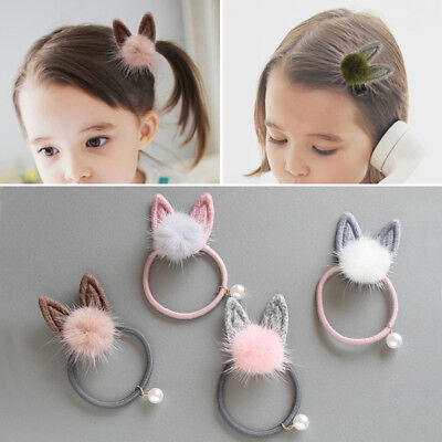 Kids Baby Solid Color Hairband Hair Clip Pom Pom Fur Ball Hair Accessories