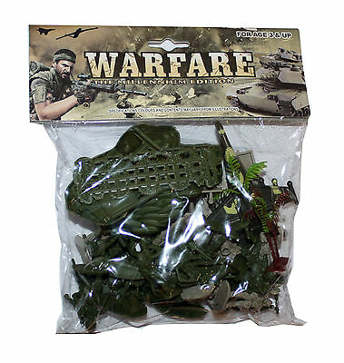 Bag of Toy Army Soldiers Plastic with Themed Accessories & Vehicles for Children