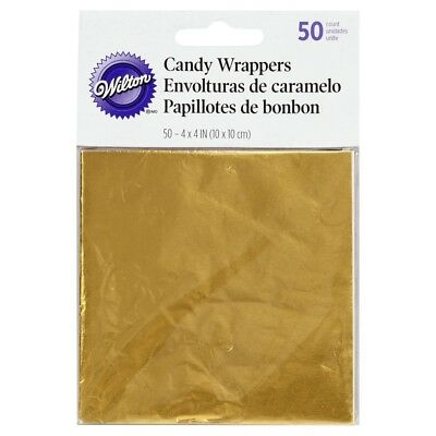 Wilton 50Pk Gold Foil Candy Wrappers for Covering Lollipop Cake Pops & Treats