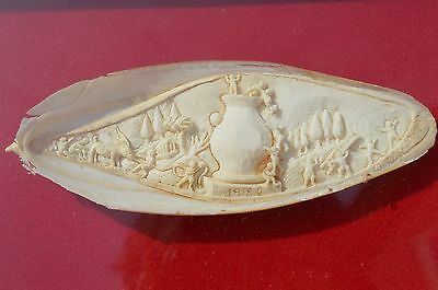 Beautiful Vintage Hand Carved Cattle Fish Bone Sculpture/picture In Wooden Frame