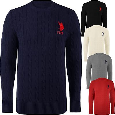 Mens Us Polo Assn Long Sleeve Cable Knit Jumper Sweater Crew Neck Warm Winter