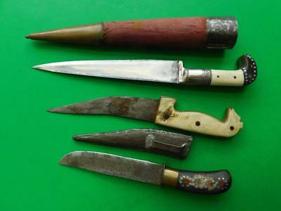 3 Vintage Ethnic Persian Tribal Knives Figural Carved handles inlays etc 1900s