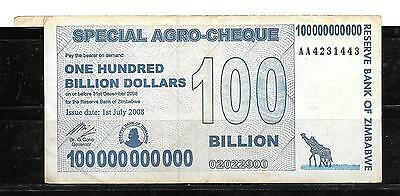 Zimbabwe #64 2008 Vg Circulated 100 Billion Dollars Banknote Paper Money Bill
