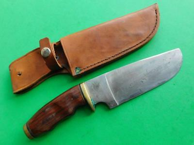 Very Unusual Vintage Broad Bladed Hunting Utility Knife with Sheath Carbon Blade