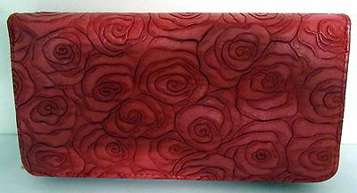 Rose Embossed Red Pu Leather Travel Wallet Purse Clutch Handbag With Strap Bn