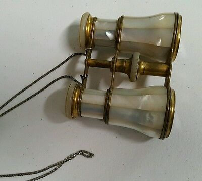 Lemaire Mother of Pearl Opera Glasses 1890s Bee Mark Paris France Brass   6032