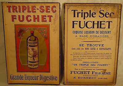 Ancien porte document publicitaire Menu TRIPLE SEC FUCHET bar bistrot restaurant