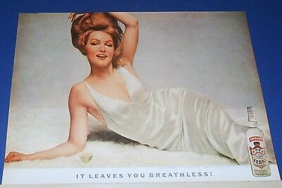 1962 Smirnoff Vodka Martini Ad it leaves you breathless~sexy Julie Newmar