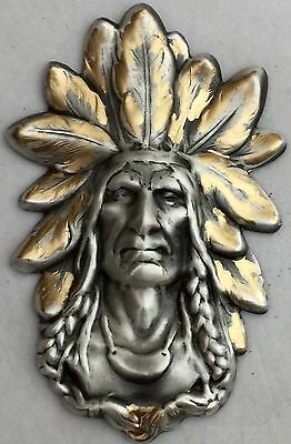 "NATIVE AMERICAN WITH BOLD DETAILS ON Silvered Brass~Antique And Vintage~2""INCH"