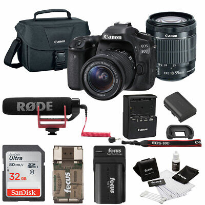 Canon EOS 80D SLR Video Creator Kit w/ 18-55mm lens, Rode VIDEOMIC GO & 32GB Kit