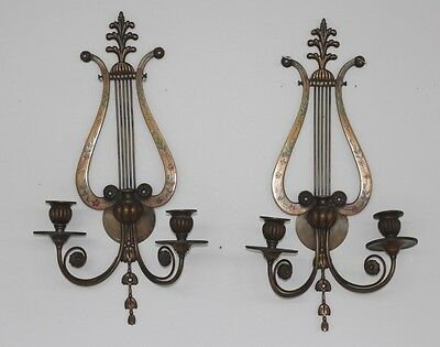 Vintage Pair Of E F Caldwell Bronze Two Candle Wall Sconces