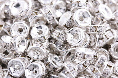 100Pcs Silver Plated Crystal Rondelle Spacers Beads Charms Jewelry Findings 8mm