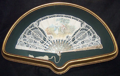 Mother of Pearl & Doily Lace Hand Fan Courting Couple Signed Guy Framed MOP